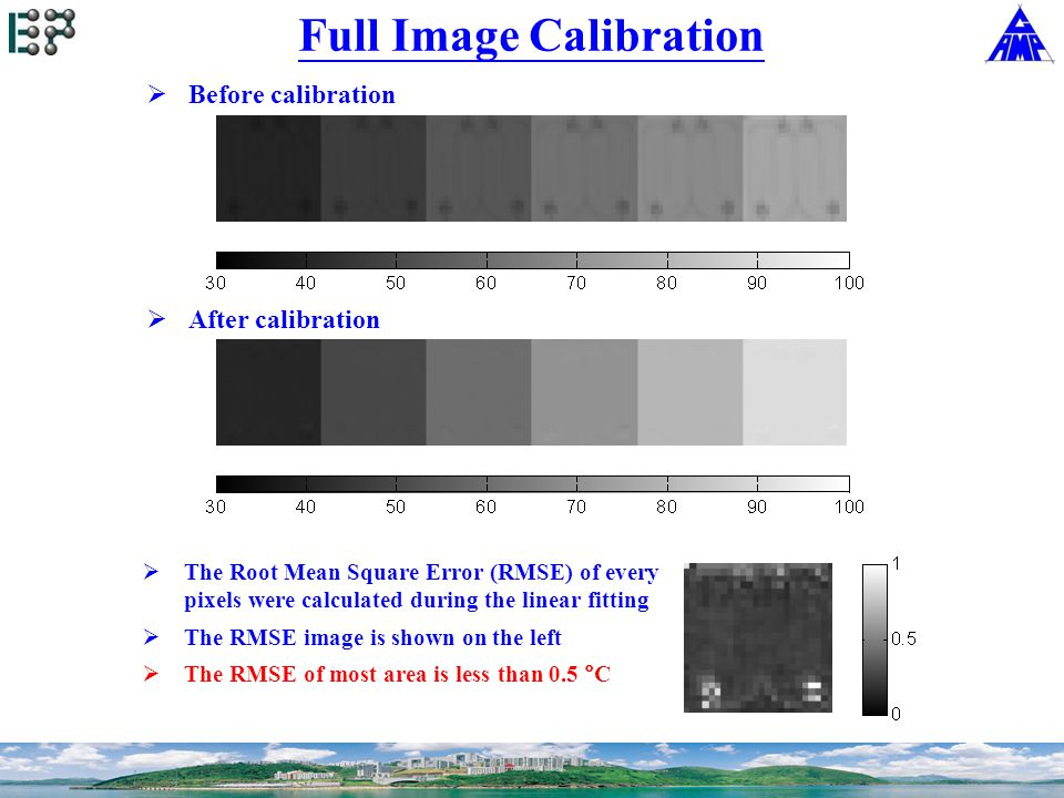 Full Image Calibration  The Root Mean Square Error (RMSE) of every pixels were calculated during the linear fitting  The RMSE image is shown on the left  The RMSE of most area is less than 0.5 °C  Before calibration  After calibration