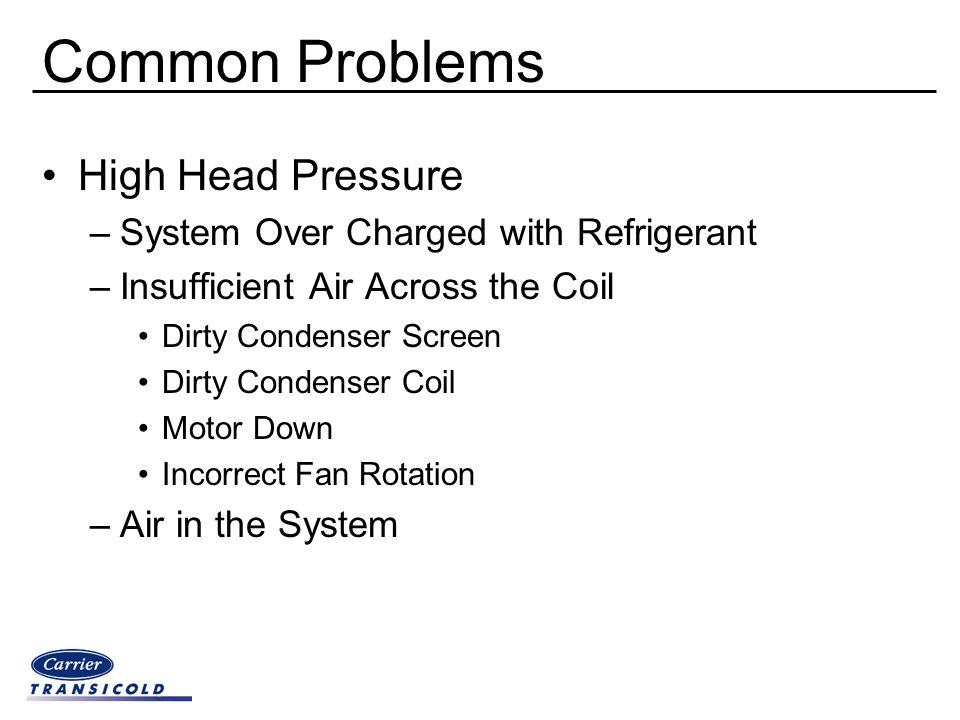 Common Problems High Head Pressure –System Over Charged with Refrigerant –Insufficient Air Across the Coil Dirty Condenser Screen Dirty Condenser Coil
