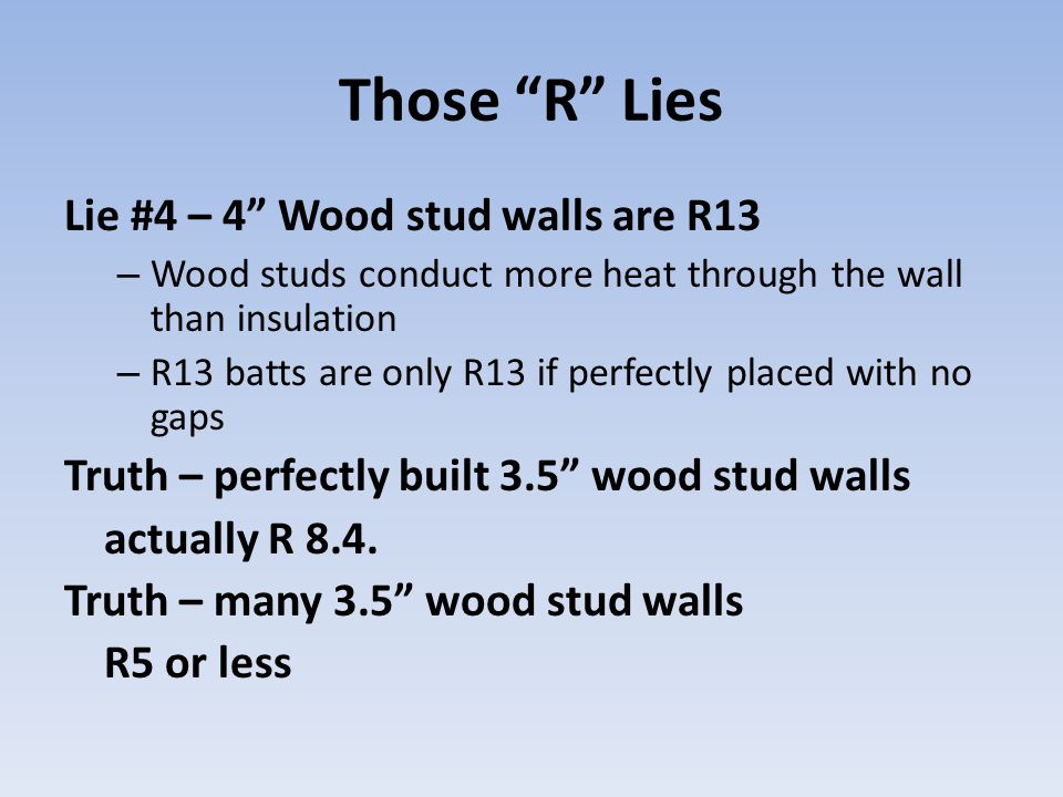 "Those ""R"" Lies Lie #4 – 4"" Wood stud walls are R13 – Wood studs conduct more heat through the wall than insulation – R13 batts are only R13 if perfect"