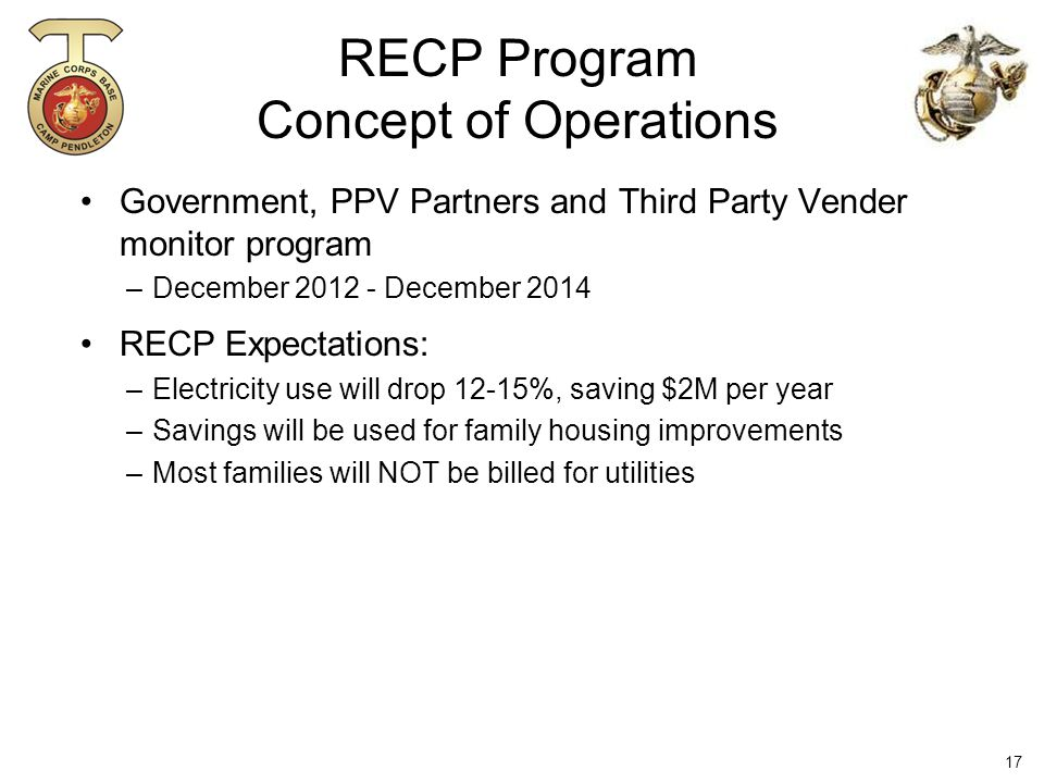 Government, PPV Partners and Third Party Vender monitor program –December 2012 - December 2014 RECP Expectations: –Electricity use will drop 12-15%, saving $2M per year –Savings will be used for family housing improvements –Most families will NOT be billed for utilities RECP Program Concept of Operations 17