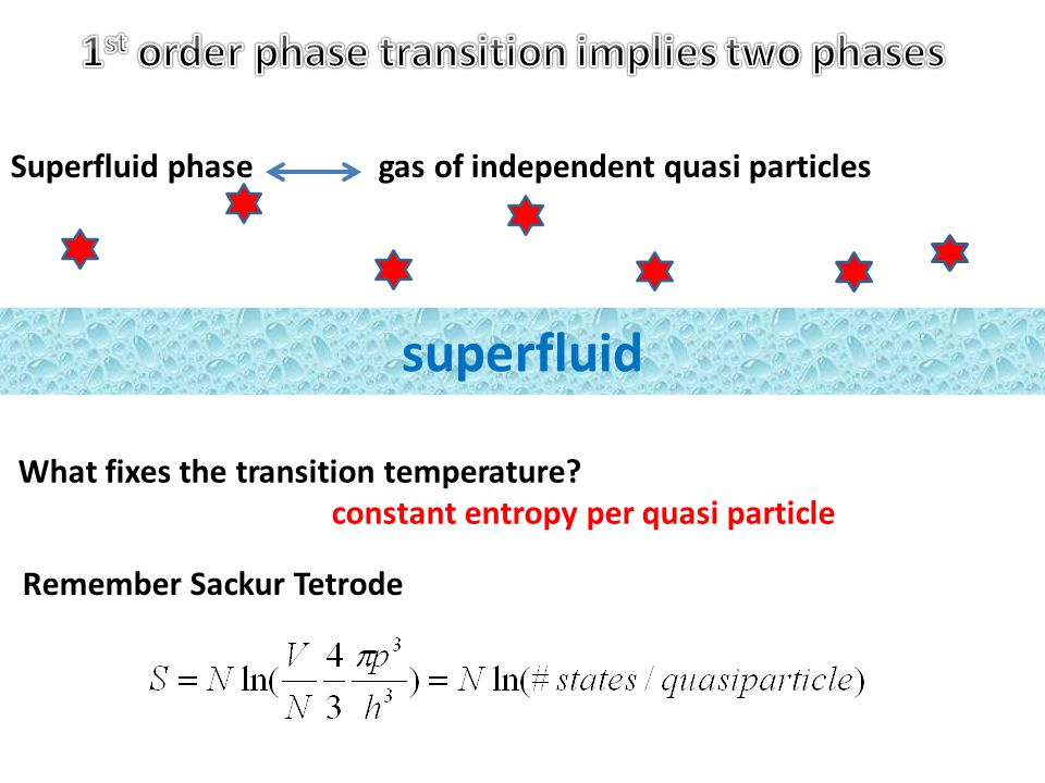 Superfluid phase gas of independent quasi particles superfluid What fixes the transition temperature.