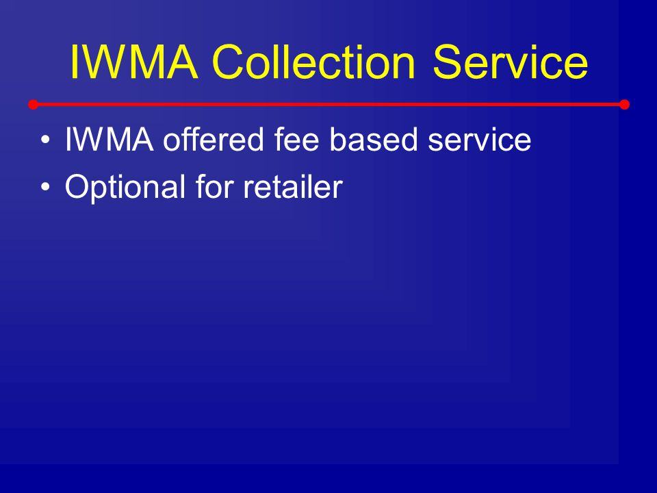 IWMA Collection Service IWMA offered fee based service Optional for retailer