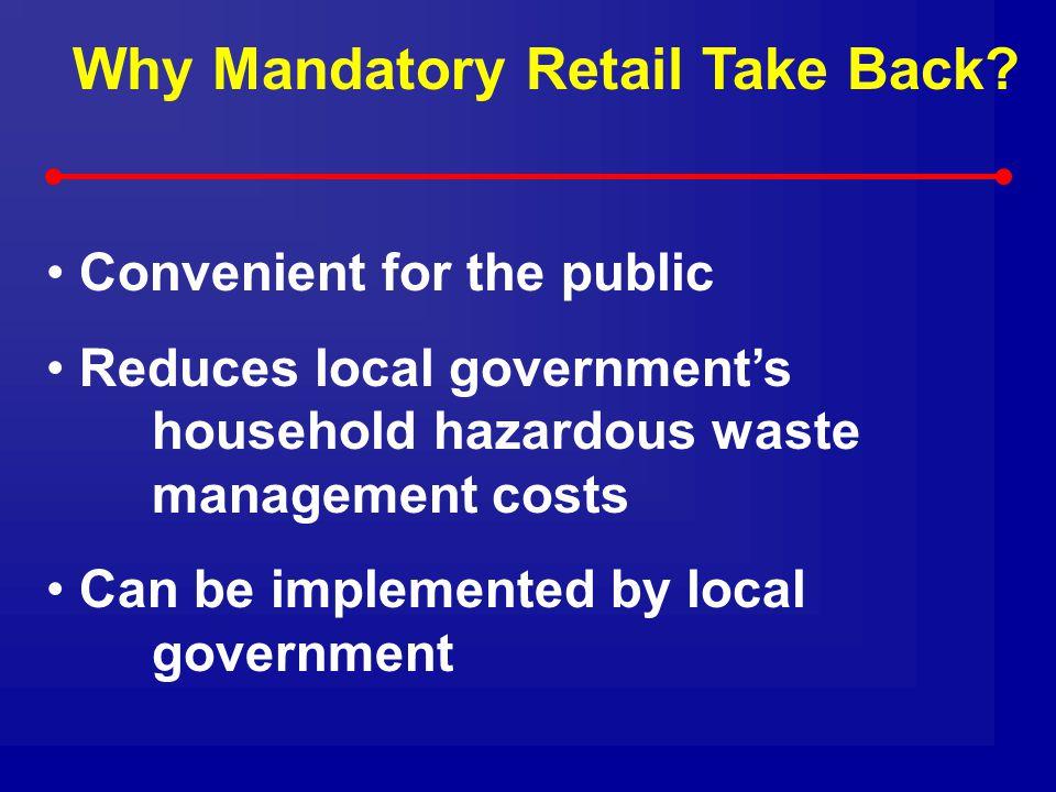 Why Mandatory Retail Take Back.