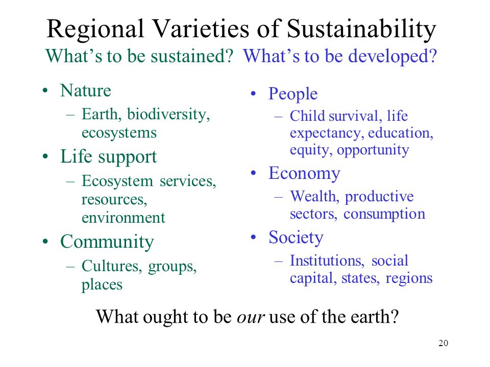 20 Regional Varieties of Sustainability What's to be sustained.