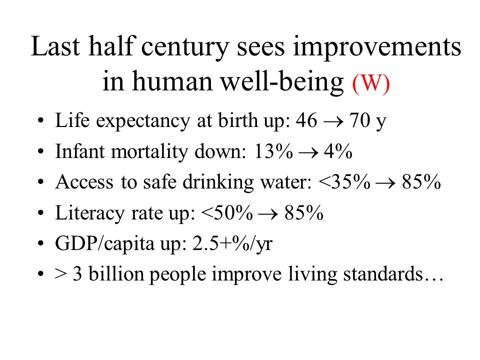 Last half century sees improvements in human well-being (W) Life expectancy at birth up: 46  70 y Infant mortality down: 13%  4% Access to safe drinking water: <35%  85% Literacy rate up: <50%  85% GDP/capita up: 2.5+%/yr > 3 billion people improve living standards…