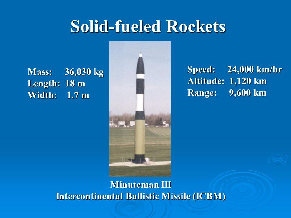 Solid-fueled Rockets Mass: 36,030 kg Length: 18 m Width: 1.7 m Speed: 24,000 km/hr Altitude: 1,120 km Range: 9,600 km Minuteman III Intercontinental Ballistic Missile (ICBM)