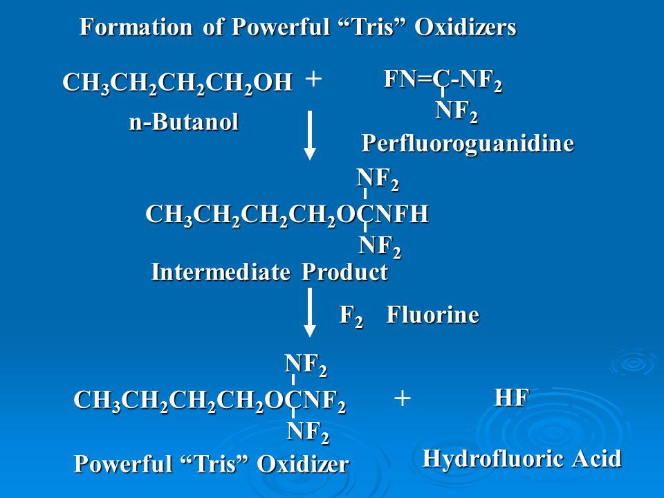 + + n-Butanol Perfluoroguanidine Intermediate Product Powerful Tris Oxidizer Hydrofluoric Acid CH 3 CH 2 CH 2 CH 2 OH FN=C-NF 2 NF 2 NF 2 CH 3 CH 2 CH 2 CH 2 OCNF 2 NF 2 NF 2 NF 2 F2F2F2F2Fluorine HF CH 3 CH 2 CH 2 CH 2 OCNFH NF 2 NF 2 NF 2 Formation of Powerful Tris Oxidizers
