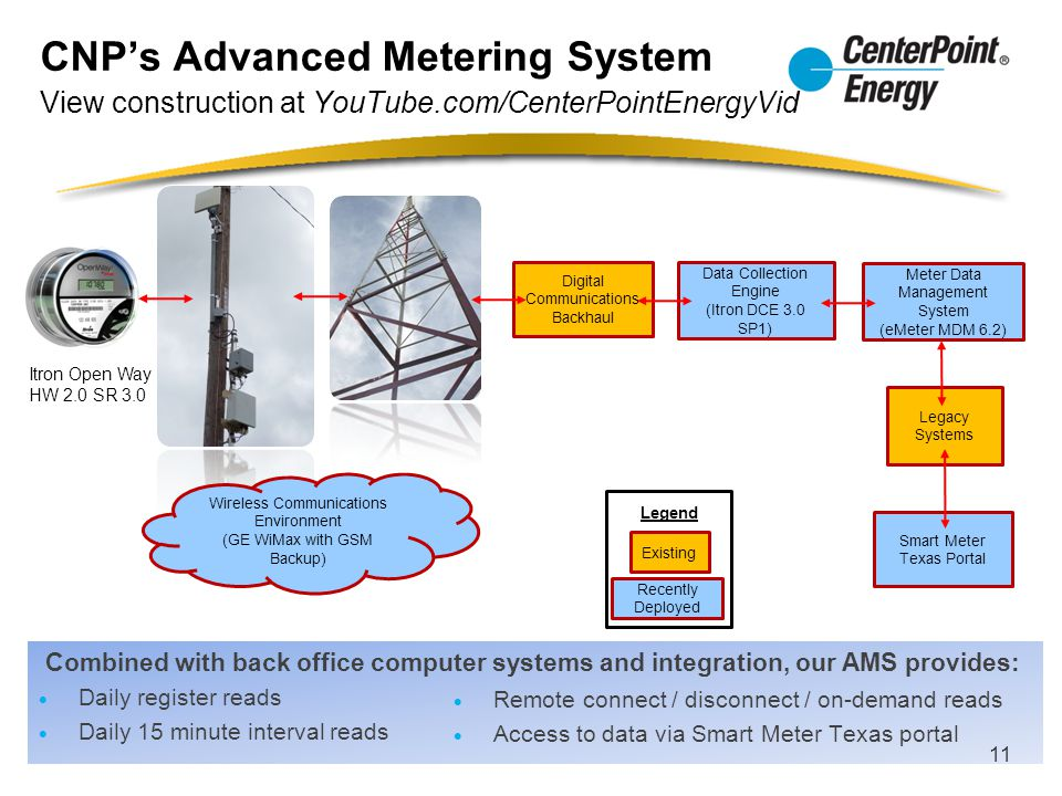 CNP's Advanced Metering System View construction at YouTube.com/CenterPointEnergyVid Combined with back office computer systems and integration, our A