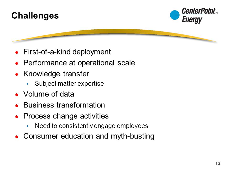 Challenges ● First-of-a-kind deployment ● Performance at operational scale ● Knowledge transfer  Subject matter expertise ● Volume of data ● Business