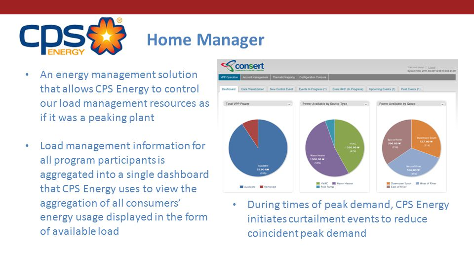 Home Manager An energy management solution that allows CPS Energy to control our load management resources as if it was a peaking plant Load management information for all program participants is aggregated into a single dashboard that CPS Energy uses to view the aggregation of all consumers' energy usage displayed in the form of available load During times of peak demand, CPS Energy initiates curtailment events to reduce coincident peak demand