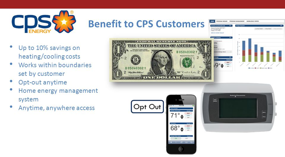 Up to 10% savings on heating/cooling costs Works within boundaries set by customer Opt-out anytime Home energy management system Anytime, anywhere access Benefit to CPS Customers
