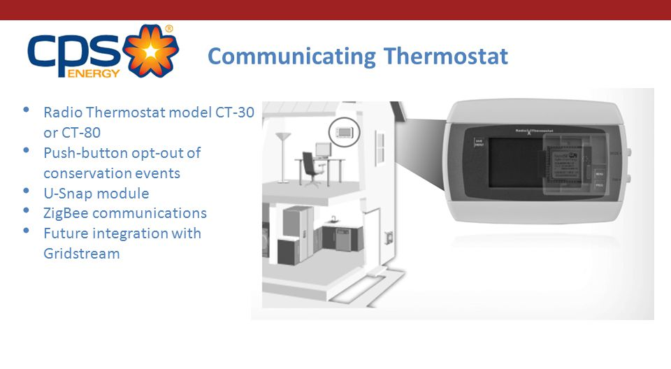 Radio Thermostat model CT-30 or CT-80 Push-button opt-out of conservation events U-Snap module ZigBee communications Future integration with Gridstrea