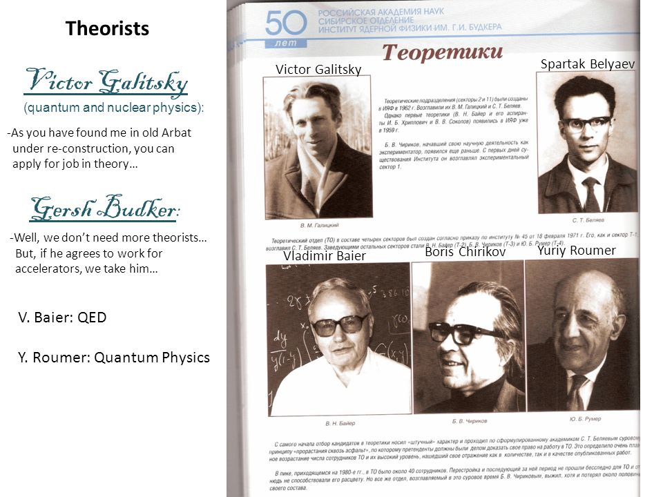 Victor Galitsky (quantum and nuclear physics): -As you have found me in old Arbat under re-construction, you can apply for job in theory… -Well, we don't need more theorists… But, if he agrees to work for accelerators, we take him… Gersh Budker : Victor Galitsky Spartak Belyaev Vladimir Baier Boris Chirikov Yuriy Roumer V.