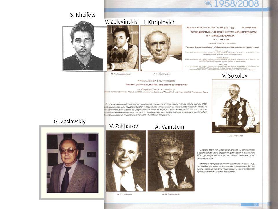 V. Zelevinskiy I. Khriplovich V. Sokolov V. Zakharov A. Vainstein S. Kheifets G. Zaslavskiy