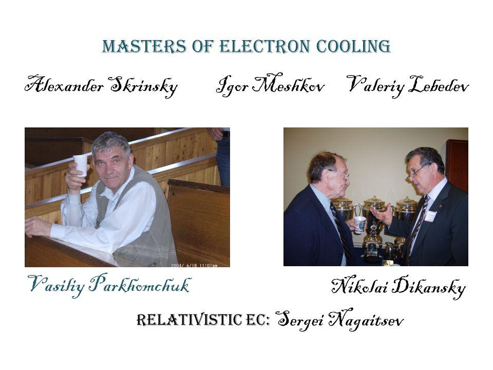 Masters of Electron cooling Vasiliy Parkhomchuk Nikolai Dikansky Alexander Skrinsky Igor Meshkov Valeriy Lebedev Relativistic EC: Sergei Nagaitsev
