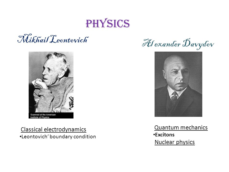 Mikhail Leontovich Al exander Davydov Physics Classical electrodynamics Leontovich' boundary condition Quantum mechanics Excitons Nuclear physics