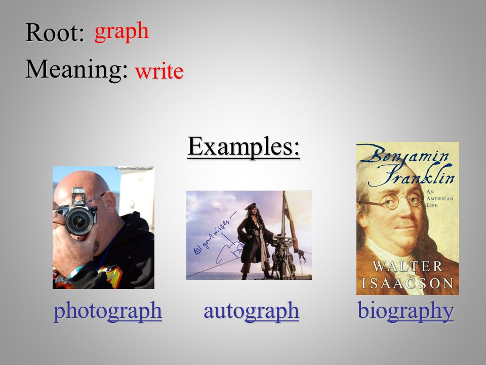 Root:graph Meaning: write Examples: photograph autograph biography
