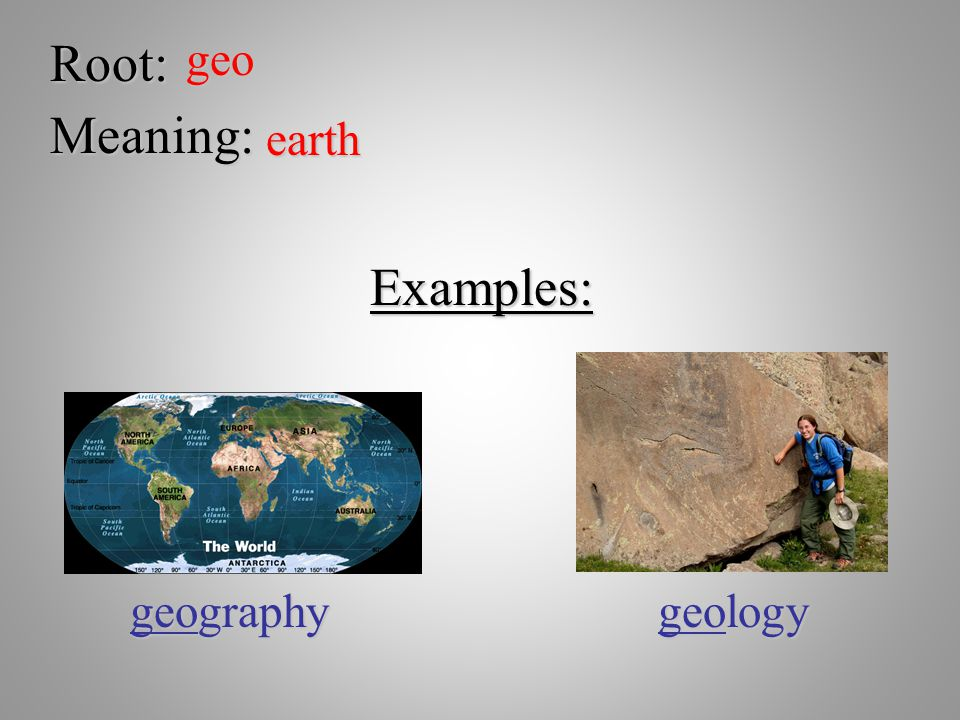 Root:geo Meaning: earth Examples: geography geology