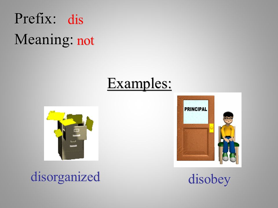 Prefix: dis Meaning: not Examples: disorganized disobey