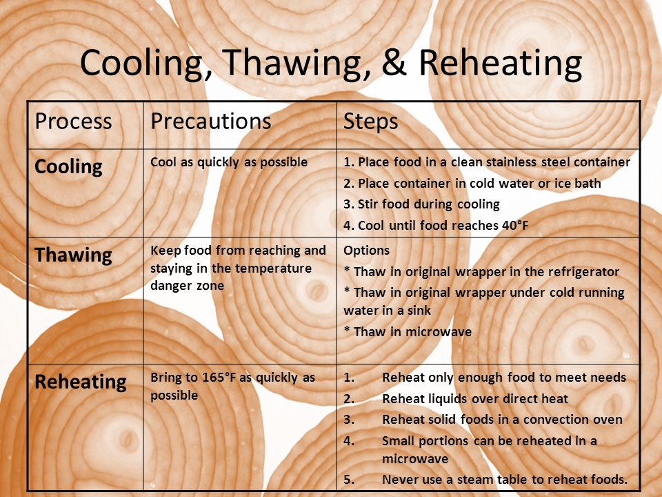 Cooling, Thawing, & Reheating ProcessPrecautionsSteps Cooling Cool as quickly as possible1. Place food in a clean stainless steel container 2. Place c