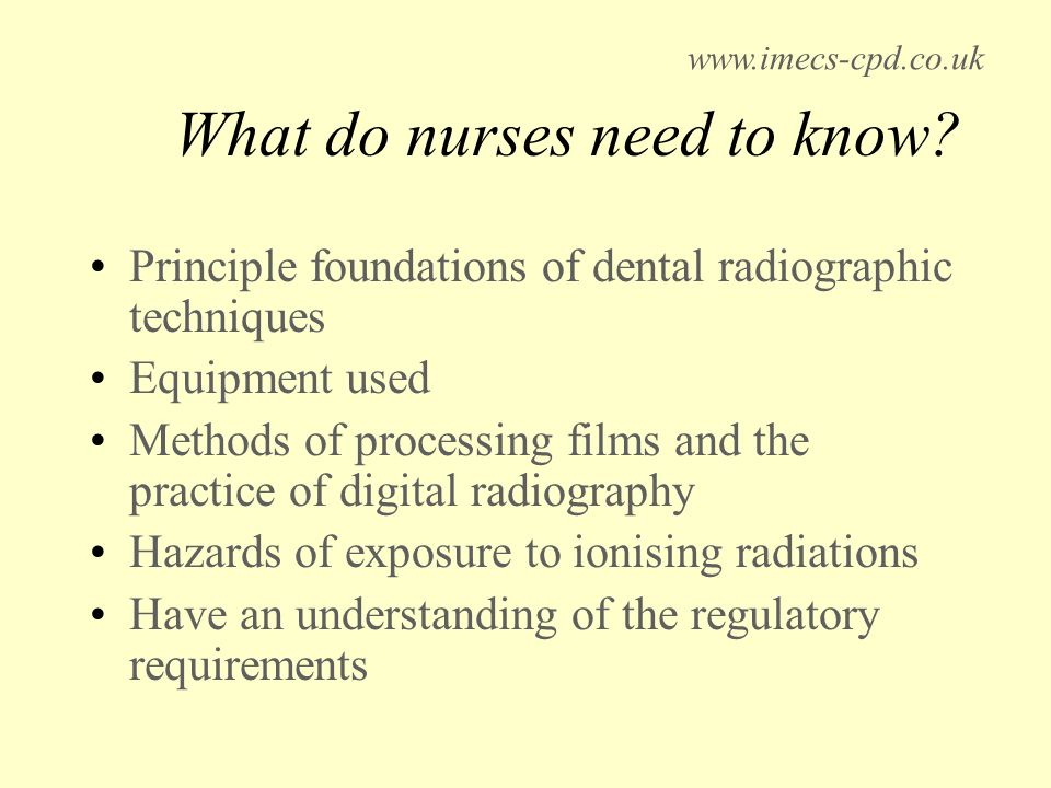 What do nurses need to know.
