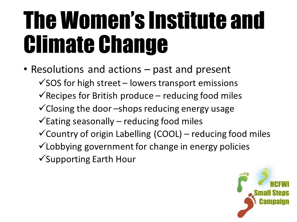 The Women's Institute and Climate Change Resolutions and actions – past and present SOS for high street – lowers transport emissions Recipes for British produce – reducing food miles Closing the door –shops reducing energy usage Eating seasonally – reducing food miles Country of origin Labelling (COOL) – reducing food miles Lobbying government for change in energy policies Supporting Earth Hour