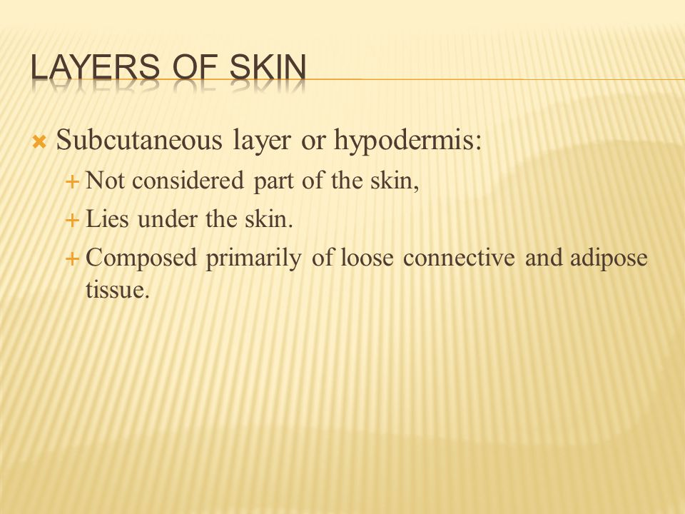  Subcutaneous layer or hypodermis:  Not considered part of the skin,  Lies under the skin.