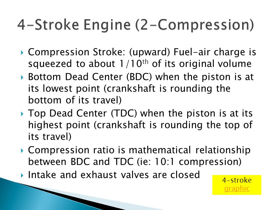  Compression Stroke: (upward) Fuel-air charge is squeezed to about 1/10 th of its original volume  Bottom Dead Center (BDC) when the piston is at it