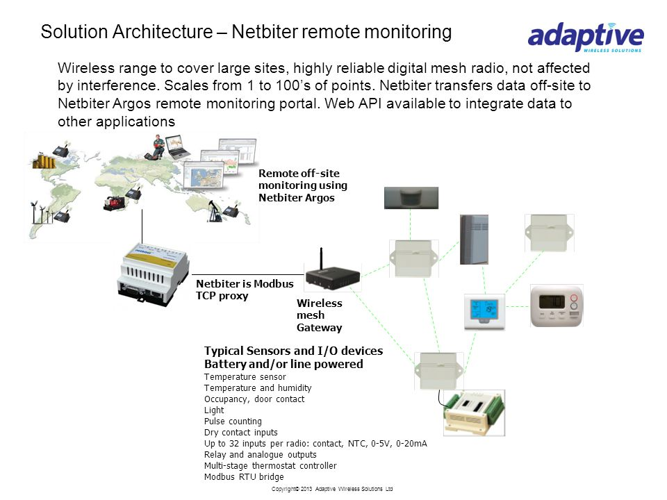 Copyright© 2013 Adaptive Wireless Solutions Ltd Solution Architecture – Netbiter remote monitoring Typical Sensors and I/O devices Battery and/or line