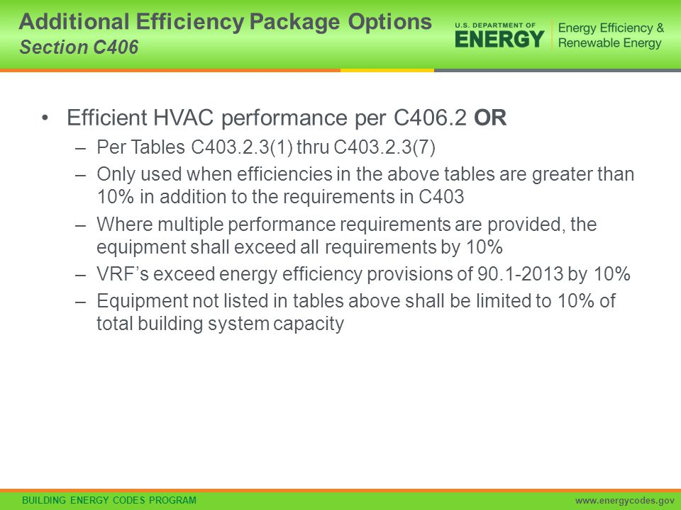 BUILDING ENERGY CODES PROGRAMwww.energycodes.gov Equipment and System Sizing Section C403.2.2 Mandatory Output capacity of heating and cooling equipment only SHALL NOT be greater than calculated loads Select the system which serves the greater load, heating or cooling –Exceptions: Standby Equipment with Required Controls Multiple Units with Combined Capacities Exceeding Loads –Sequencing Controls Required
