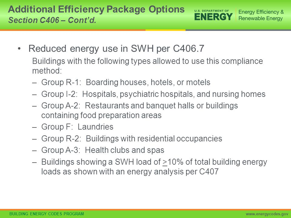 BUILDING ENERGY CODES PROGRAMwww.energycodes.gov Reduced energy use in SWH (cont'd.) Load fraction: Building SWH has >1 of the following sized to provide > 60% of hot water requirements or sized to provide 100% of hot water requirements if building complies with C403.4.7 –Waste heat recovery from SWH, heat recover chillers, building equipment, process, equipment, or combined heat and power system –Solar water-heating systems Additional Efficiency Package Options Section C406 – Cont'd.