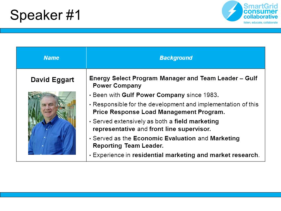 NameBackground David Eggart Energy Select Program Manager and Team Leader – Gulf Power Company Been with Gulf Power Company since 1983.
