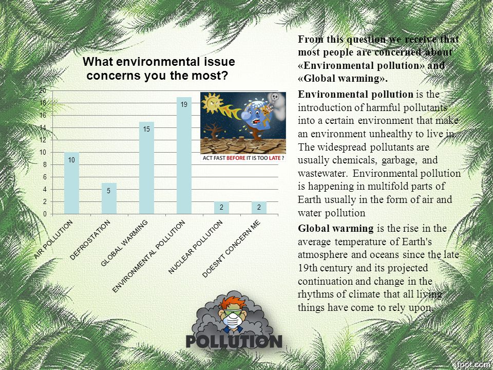 From this question we receive that most people are concerned about «Environmental pollution» and «Global warming». Environmental pollution is the intr