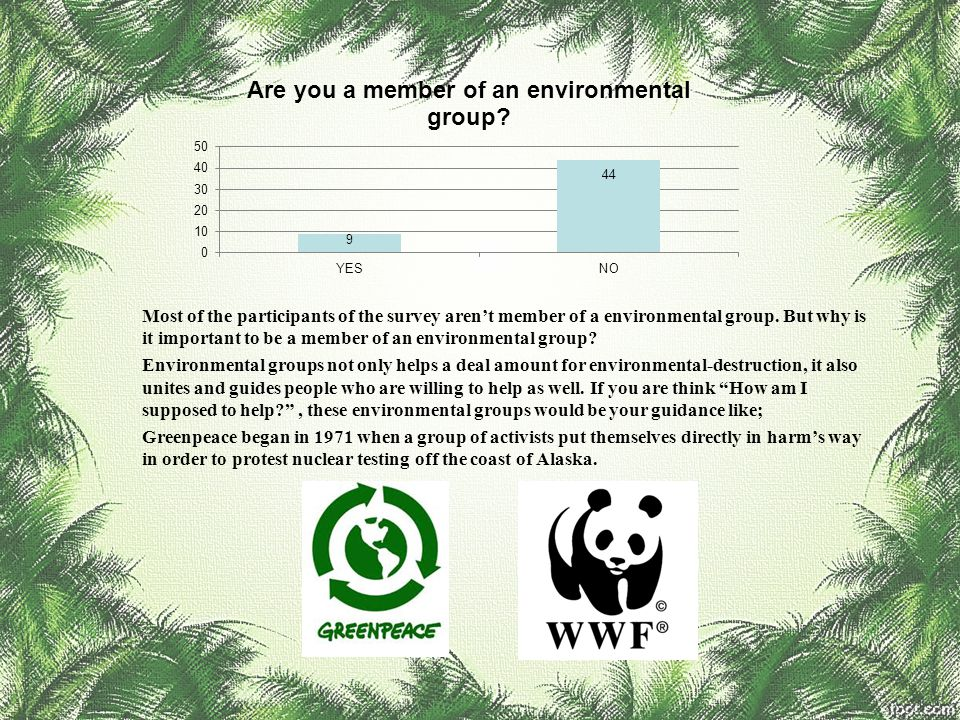 Most of the participants of the survey aren't member of a environmental group. But why is it important to be a member of an environmental group? Envir