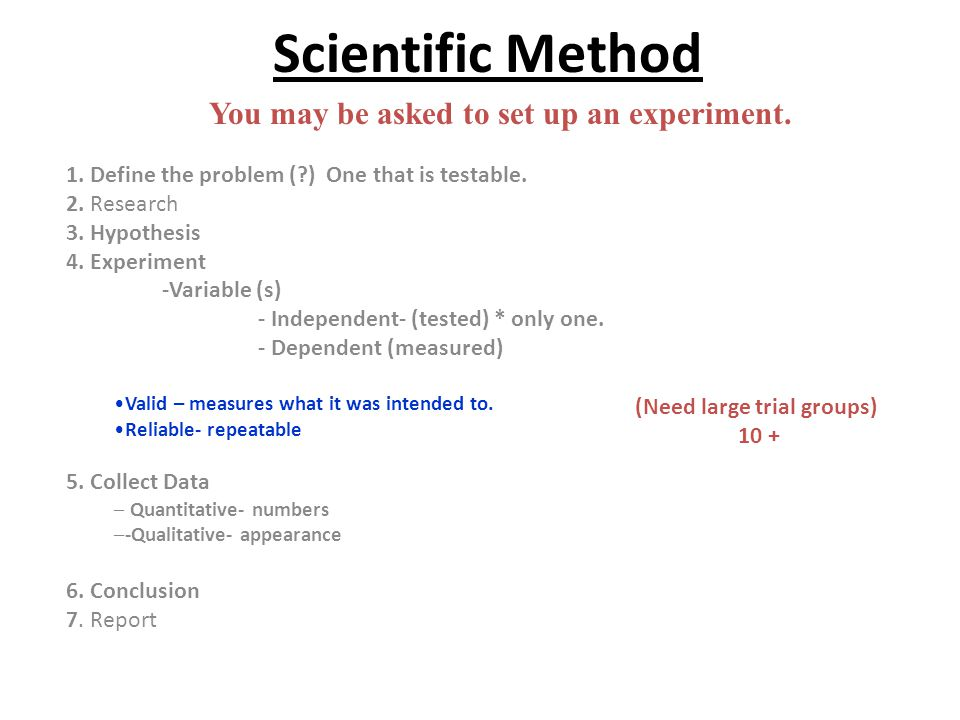 Scientific Method 1. Define the problem (?) One that is testable. 2. Research 3. Hypothesis 4. Experiment -Variable (s) - Independent- (tested) * only