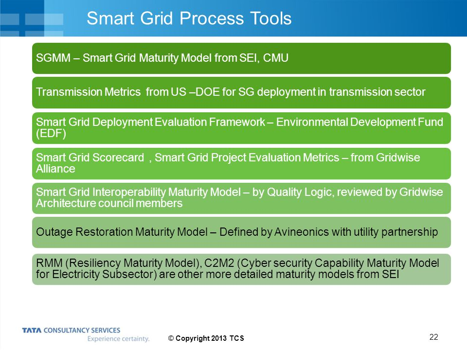 Smart Grid Process Tools SGMM – Smart Grid Maturity Model from SEI, CMUTransmission Metrics from US –DOE for SG deployment in transmission sector Smar