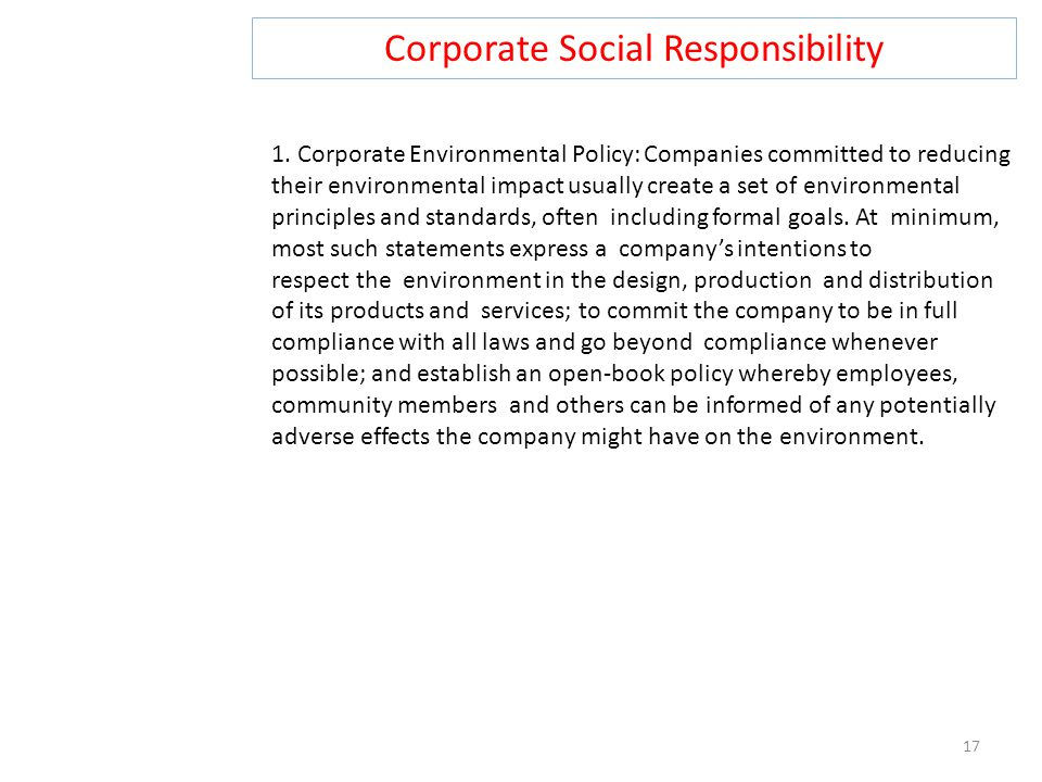 Corporate Social Responsibility 17 1.