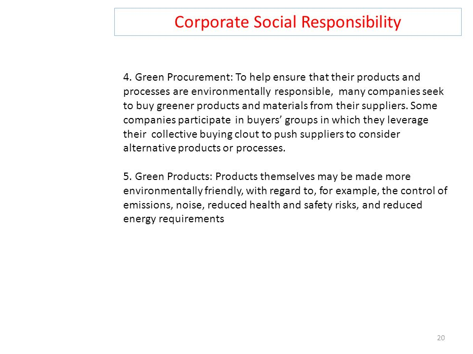 Corporate Social Responsibility 20 4.