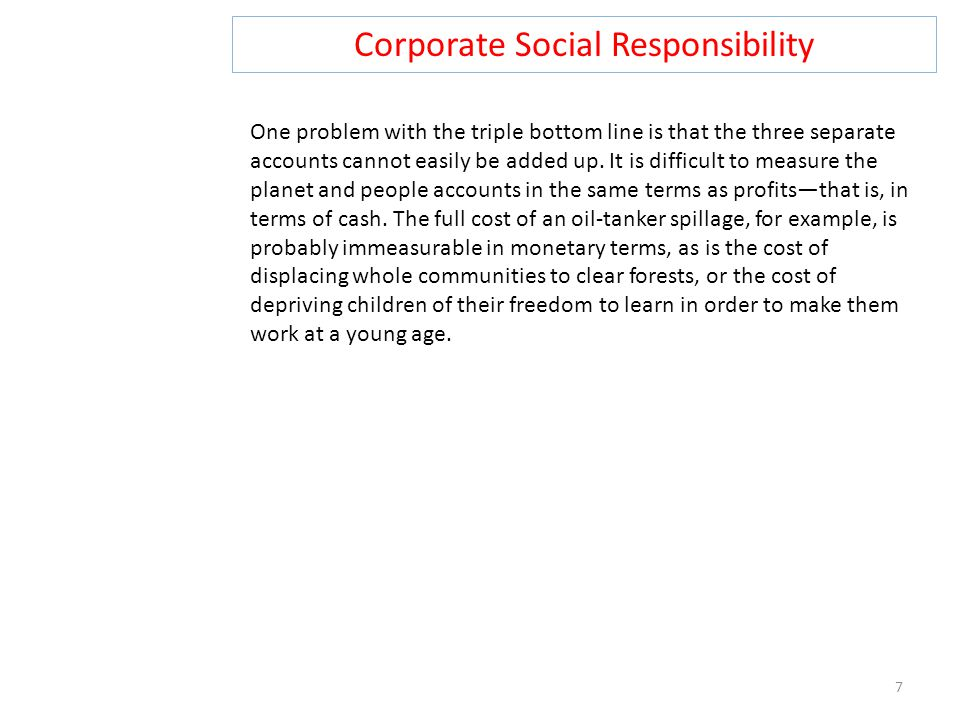 Corporate Social Responsibility 8 Triple loop learning