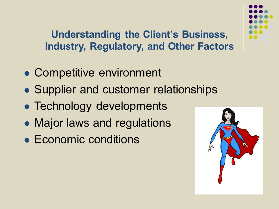 Understanding the Client's Business, Industry, Regulatory, and Other Factors Competitive environment Supplier and customer relationships Technology de