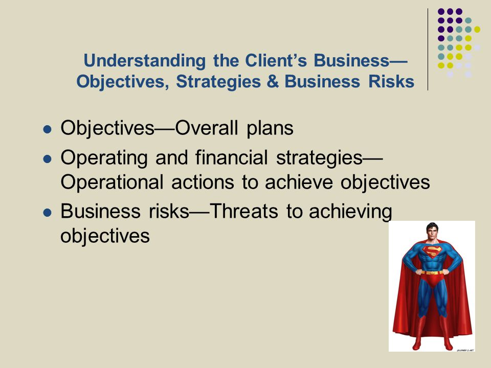 Understanding the Client's Business— Objectives, Strategies & Business Risks Objectives—Overall plans Operating and financial strategies— Operational