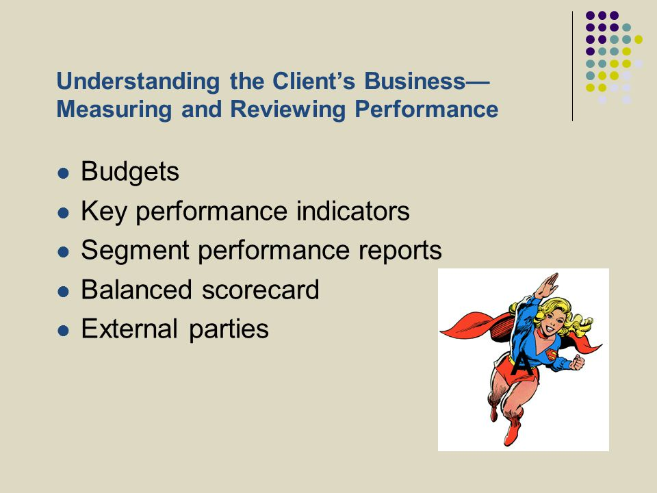 Understanding the Client's Business— Measuring and Reviewing Performance Budgets Key performance indicators Segment performance reports Balanced score