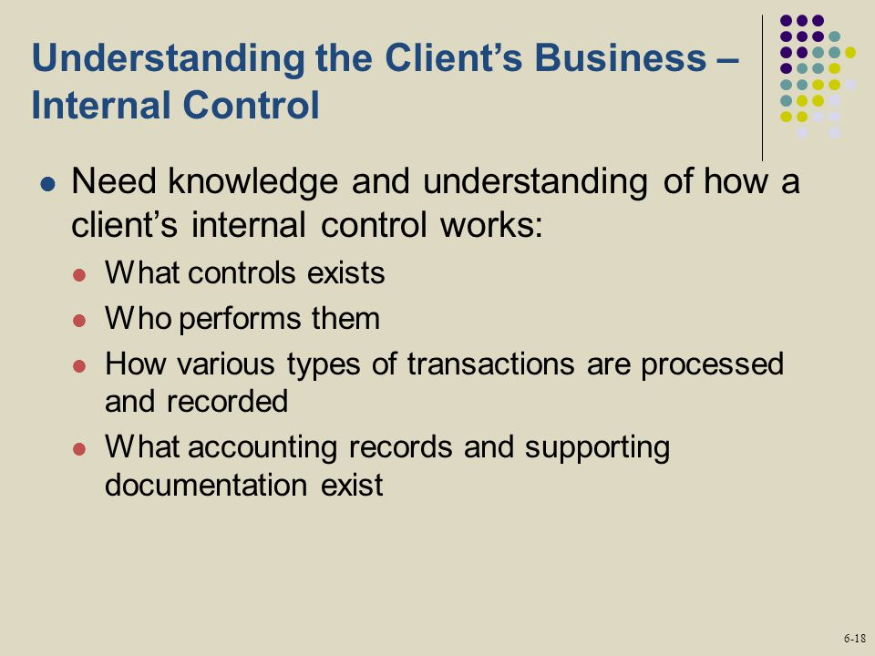 Understanding the Client's Business – Internal Control Need knowledge and understanding of how a client's internal control works: What controls exists