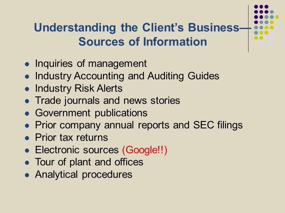 Understanding the Client's Business— Sources of Information Inquiries of management Industry Accounting and Auditing Guides Industry Risk Alerts Trade