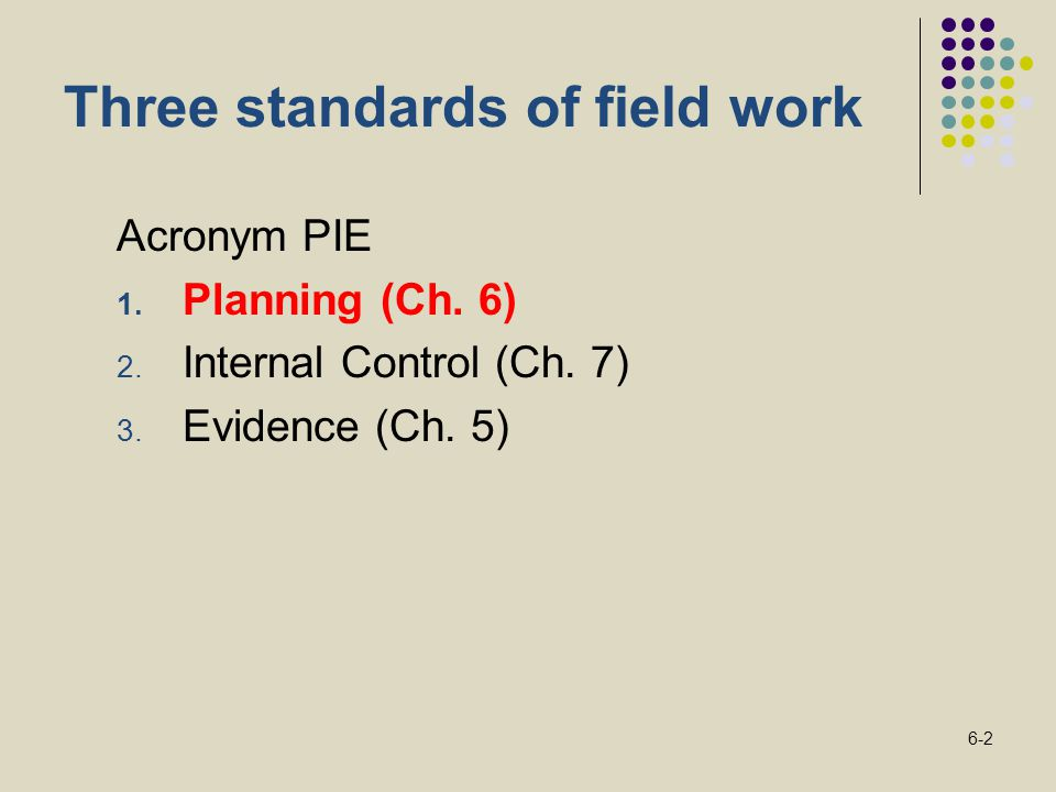 6-2 Three standards of field work Acronym PIE 1. Planning (Ch. 6) 2. Internal Control (Ch. 7) 3. Evidence (Ch. 5)