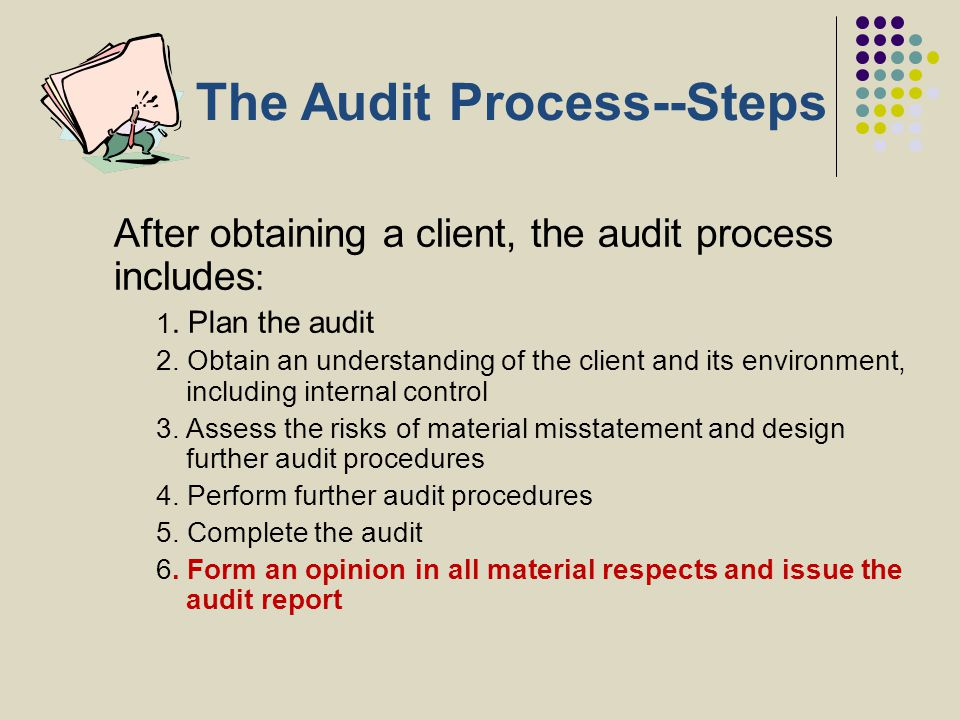 The Audit Process--Steps After obtaining a client, the audit process includes : 1. Plan the audit 2. Obtain an understanding of the client and its env