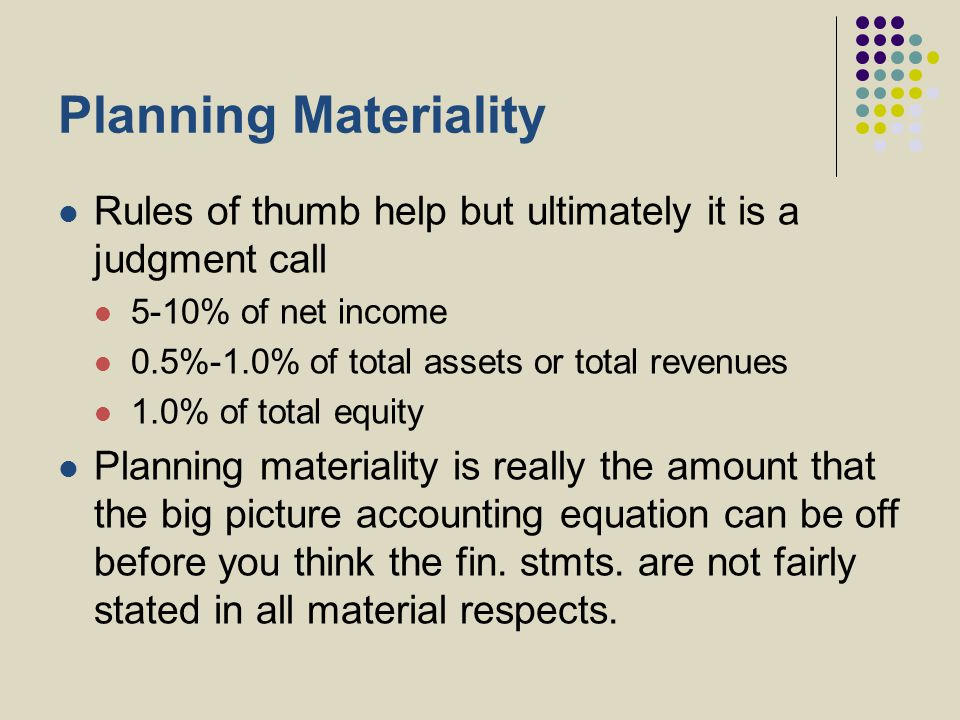 Planning Materiality Rules of thumb help but ultimately it is a judgment call 5-10% of net income 0.5%-1.0% of total assets or total revenues 1.0% of