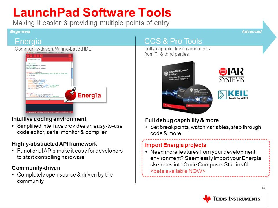LaunchPad Software Tools Making it easier & providing multiple points of entry 13 Energia Community-driven, Wiring-based IDE Intuitive coding environm