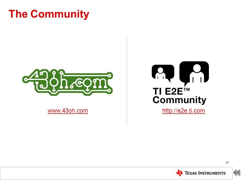 TI Confidential – NDA Restrictions The Community 20 www.43oh.com http://e2e.ti.com