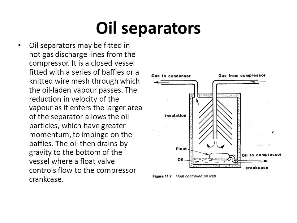 Oil separators Oil separators may be fitted in hot gas discharge lines from the compressor. It is a closed vessel fitted with a series of baffles or a